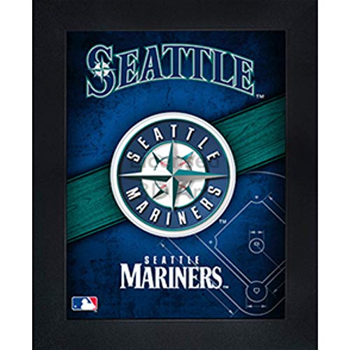 (Seattle Mariners 3D Poster Wall Art Decor Framed Print | 14.5x18.5 | Lenticular Posters & Pictures | Memorabilia Gifts for Guys & Girls Bedroom | MLB Baseball Sports Team Fan Poster for Man Cave )
