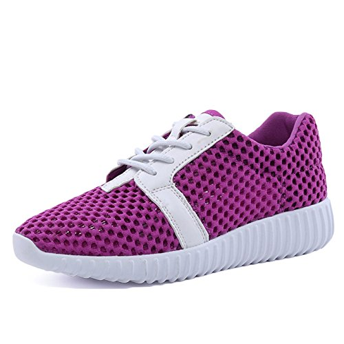 snfgoij Waterproof Running Casual Walking Shoes Hollow Hiking Shoes Hiking Ladies Girls Sports Breathable Mesh Shoes Purple Shoes SwqSA1r