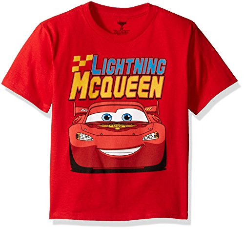 Disney Little Boys' Toddler Cars Lightning Mcqueen Toddler T-Shirt, Red, 3T