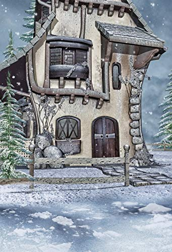 Baocicco 5x7ft Fairy Tale House Backdrop Winter Landscape Ice World Drifting Snow Pine Trees Photography Background Baby's Birthday Party Baby Children Portrait Studio Video Prop (Drifting Snow)