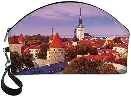 Cityscape Small Portable Cosmetic Bag,Aerial Citscape of Medieval Old Town in Autumn Twilight Estonia City Heritage Deco For Women,Half Moon Shell Shape One size
