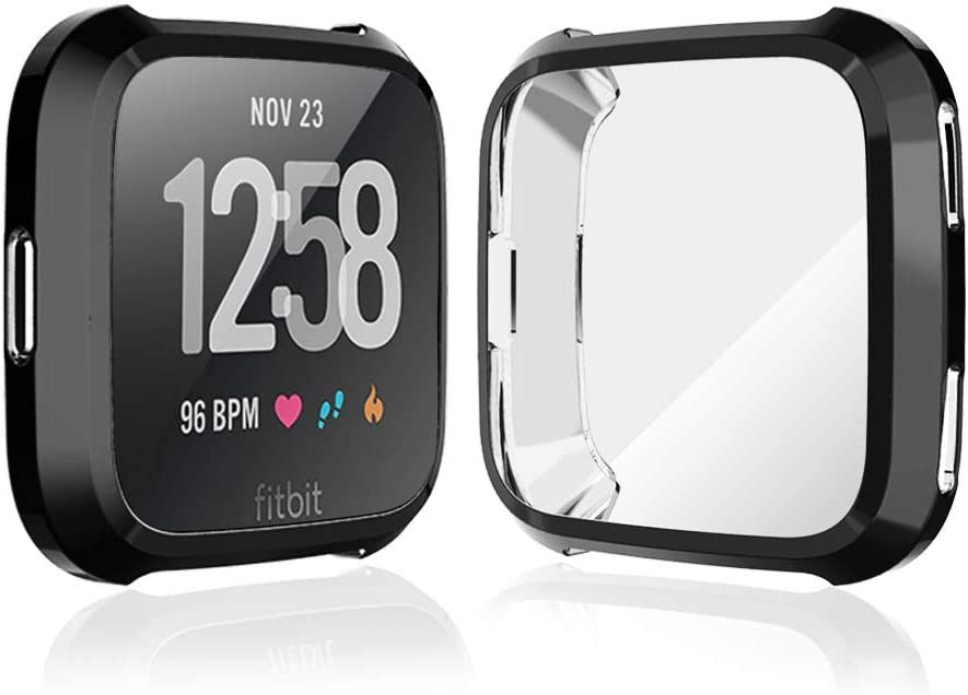iHYQ Case for Fitbit Versa,Soft TPU Plated Screen Protector Cover Scratch-Proof All-Around Protective Bumper Shell for Fitbit Versa Smartwatch Accessories, Black