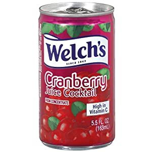 Welch's Juice Cocktail, Cranberry, 5.5 Ounce On the Go Cans (Pack of 48)