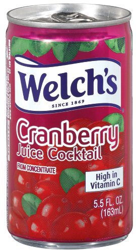 Welch's Juice Cocktail, Cranberry, 5.5 Ounce On the Go Cans (Pack of - Cranberry Cans Juice