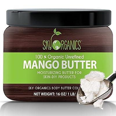 Best Raw Mango Butter by Sky Organics 16oz- 100% Pure, Unrefined, Organic Mango Butter-Skin Nourishing, Moisturizing & Healing, for Dry Skin, Hair Shine - For Skin Care, Hair Care & DIY- Made in USA from Sky Organics