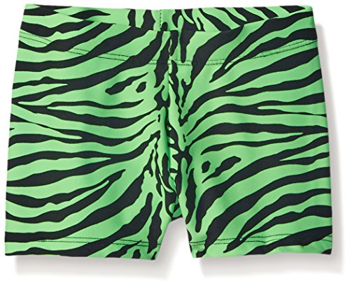Gia-Mia Dance Big Girls Animal Print Short, Zebra Lime, Small