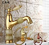 Furesnts Modern home kitchen and Bathroom Sink Taps The zirconium golden Basin hot and cold Jade Dragon luxury continental Mixer pulled Mixer Bathroom Sink Taps,(Standard G 1/2 universal hose ports)
