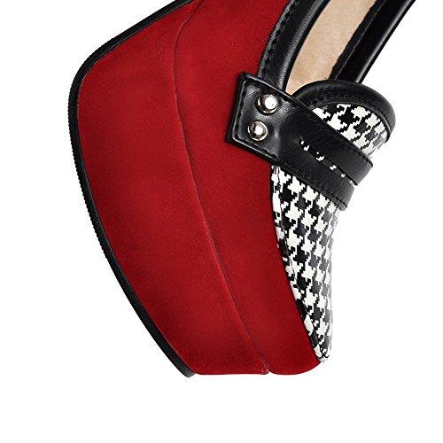 VogueZone009 Damen Rund Zehe Ziehen auf Eingelegt Hoher Absatz Pumps Schuhe Rot
