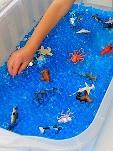 Create fun Ocean Sensory table with 8oz Blue Cosmo Beads Water Beads and Growing Sea Life Characters (Sea Life Activity Table)