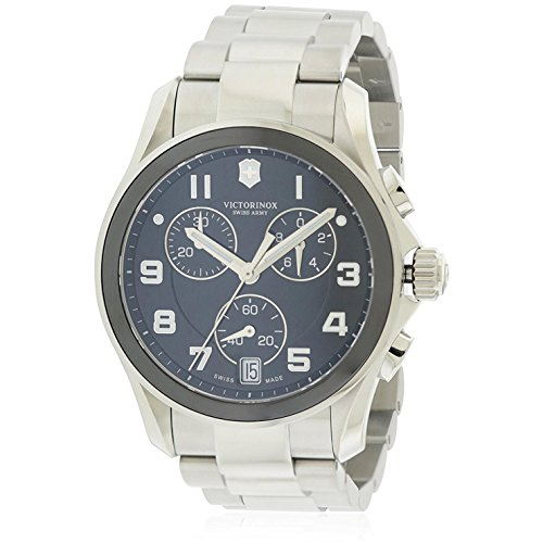 (Victorinox Swiss Army Men's 241544 Silver Chrono Classic with Ceramic Bezel Black and Silver Watch)