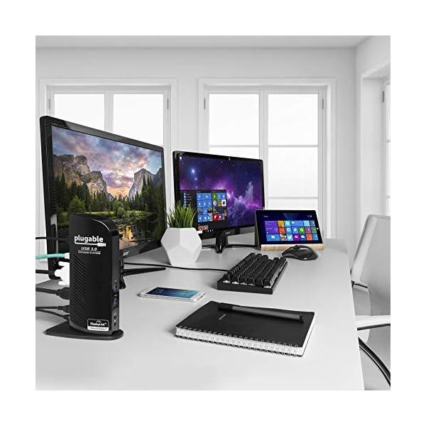 Plugable USB 3.0 Universal Laptop Docking Station Dual Monitor for Windows and Mac (Dual Video: HDMI and DVI/VGA/HDMI… 2