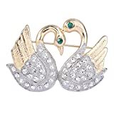 EVER FAITH Women's Austrian Crystal Mothers' Gifts Double Swans Bird Brooch Pin Clear Gold-Tone
