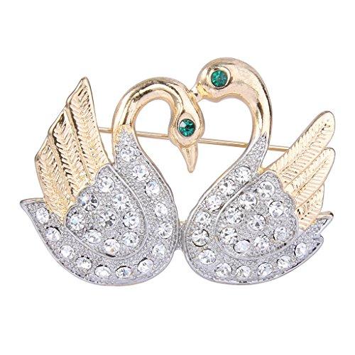 EVER FAITH Women's Austrian Crystal Mothers' Gifts Double Swans Bird Brooch Pin Clear Gold-Tone by EVER FAITH