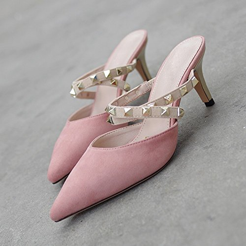con Mujer con Mujer de Punta 38 Sandalias Tacón Alto Baotou de de Zapatos con Zapatos Remaches DIDIDD Finos Mulei Desnudo 8Tq1tE