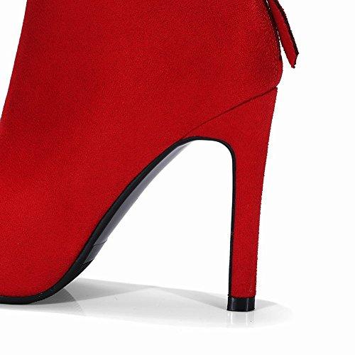 Shoes Rot Nubukleder Damen kurzstiefel Mee heels high TxqgBg0