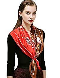 "100% Silk Scarf, 35""x35"" Large Square Printed Silk Charmeuse Scarf"