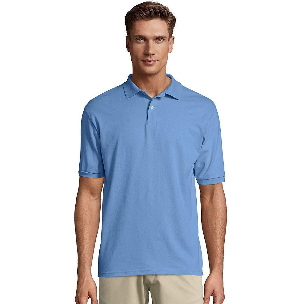 Stedman by Hanes 5.5 oz 50//50 Jersey Knit Polo in Light Blue XX-Large