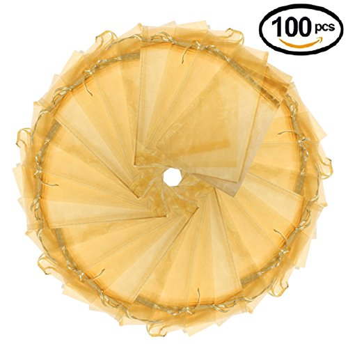 Wedding Party Favor Tulle (Wuligirl 100pcs Gold Organza Gift Bags Drawstring Cosmetics Jewelry Candles Pouches Party Wedding Favor Christmas Pine Cones Seashell Buttons Chocolates Candy Packing Bags(100pcs Golden 3.9x4.7