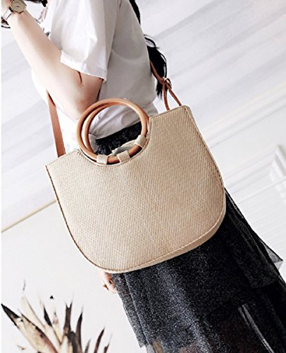 Messenger Handbag Beige Shoulder EMONJAY Bag Women's Fashion PU Straw B1Y8qE