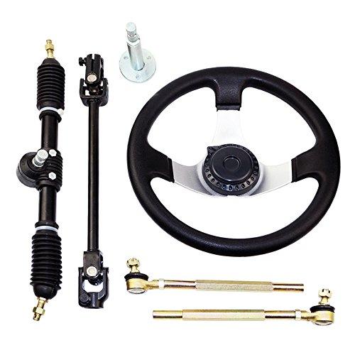 FLYPIG Steering Wheel Assembly Set 110cc Go Kart Tie Rod Rack Adjustable Shaft