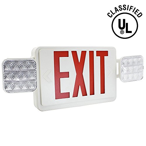 TORCHSTAR ALL LED Dual/Single Face Combo EXIT Sign and Emergency Light - Red Letter w/Dual Square Head Lights and Rechargeable Battery Backup – US Standard Double Face Lighted EXIT Sign ()