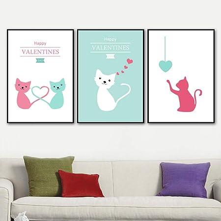 adgkitb canvas Cartel nórdico Gato de Dibujos Animados Arte ...