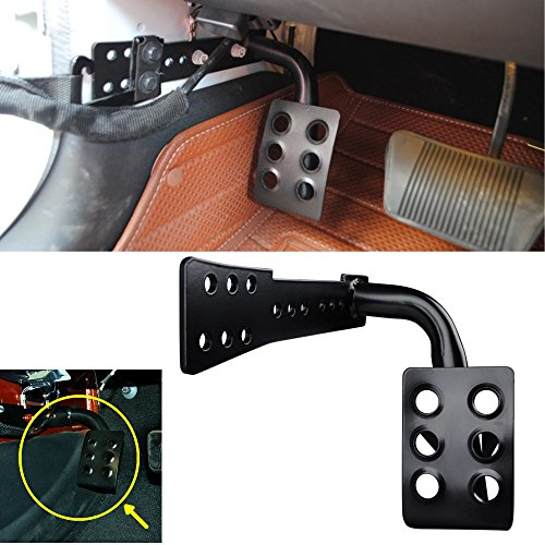 Bestong Metal Dead Pedal Left Side Foot Rest Kick Panel for Jeep Wrangler JK JKU Unlimited 2007-2016 (Left Foot Pedal, Black)