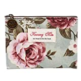 Thenlian Vintage Floral Printed Bag Women Make Up Bags Travel Bag Make Up Pouch Coin Bag (D)