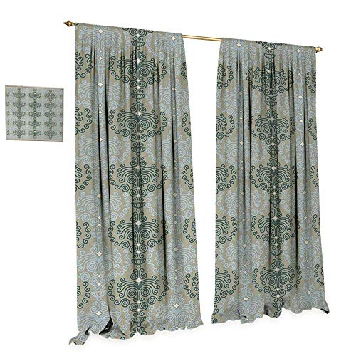 Drapes Kichler (Anniutwo Floral Room Darkening Wide Curtains Abstract Art Damask Desgin Floral Ornament Background Wallpaper Pattern Print Decor Curtains by W84 x L84 Blue and Taupe)