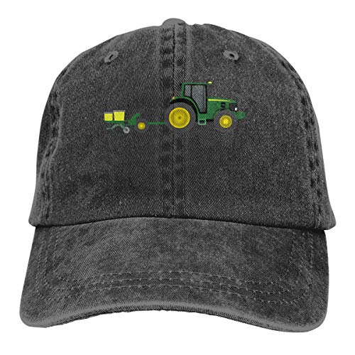 - Arsmt Interesting Tractor with Planter Washed Denim Hat Unisex Dad Baseball Cap