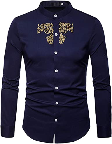 VPASS Hombre Camisas, Manga Larga Casual Color Sólido Primavera Camisa de Moda Slim Fit Bordado Long Sleeve Blusa Tops Botón Shirt de Algodón Formales Diseño de Personalidad básica: Amazon.es: Ropa y accesorios