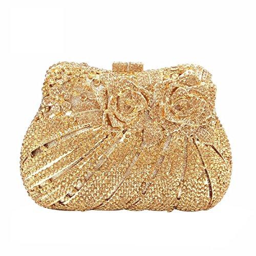 Crystal Rhinestone De La Flor De Embrague De Las Mujeres De Bling Rose Monedero Bolsos De Tarde Gold