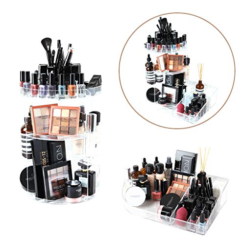 SUNFICON Rotating Makeup Organizer Large Cosmetic Holder Display Case with Storage Tray Fits Beauty Skincare Items Bathroom Dresser Vanity Countertop, Acrylic Clear from SUNFICON