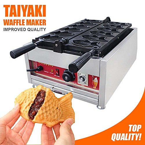 Taiyaki Fish Waffle Maker 110V | ALDKitchen 6 pcs Commercial Use Jam or Ice Cream Waffle Maker | Stainless Steel Taiyaki Maker by ALDKitchen