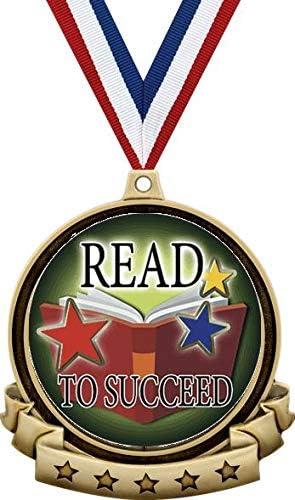 読書メダル - 2.5インチ 金 成功への読み取り メダル賞 赤白青のネックリボン付き 子供達の読書賞 プライム