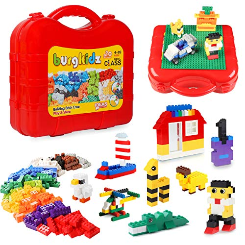 burgkidz 520 Pieces Kids Building Bricks, Storage Suitcase with Building Baseplate, ON The GO Sets for Travel Storage Organizer , Stacking Toys - BPA Free, Storage bin for Toys