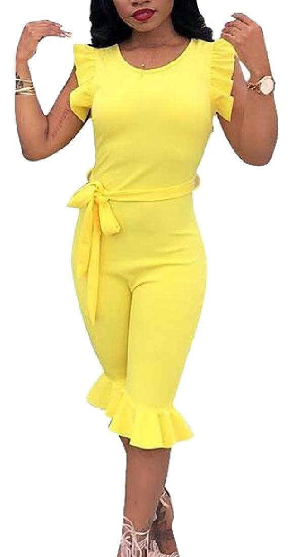 Xswsy XG Womens Summer Romper Ruffle Sleeveless Bodycon Short Jumpsuits