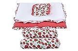 Baby Grow Toddler Mattress Basics Bedding Set Strawberry Printed (Red)