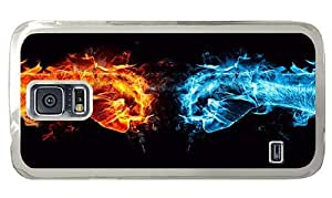 Hipster Samsung Galaxy S5 Case good Fire Ice Fist PC Transparent for Samsung S5