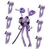 Jili Online Wedding Car Decoration Kits Large Heart Flowers Plate & 5m Ribbons & 6 Bows - Purple
