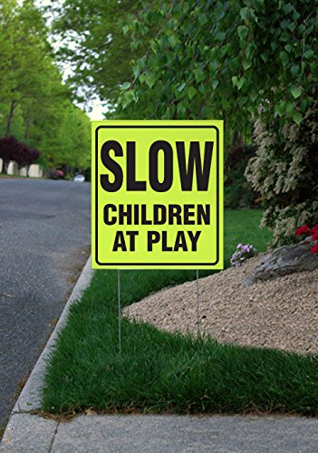 Slow, Children At Play - 16'' x 18'' Fluorescent Yellow Picket Sign