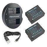 Newmowa DMW-BLC12 Battery (2 Pack) and Dual USB Charger for Panasonic DMW-BLC12, DMW-BLC12E