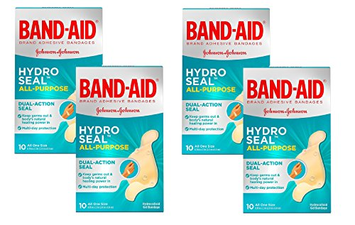 All Purpose Band - Band-Aid Brand Hydro Seal Waterproof All Purpose Adhesive Bandages for Wound Care Or Blisters, 10 ct (4-Pack (10 ct))