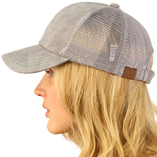 CC Everyday Mesh Trucker Faux Leather Plain Blank Baseball Cap Hat Solid Lt. Gray (Ball Fake Cap Ponytail)