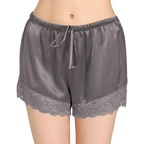 (LilySilk Silk Pajama Shorts for Women with Lace Trim Luxury Pure Mulberry Charmeuse 22 Momme Lounge Wear Soft Grey XXL/18-20)