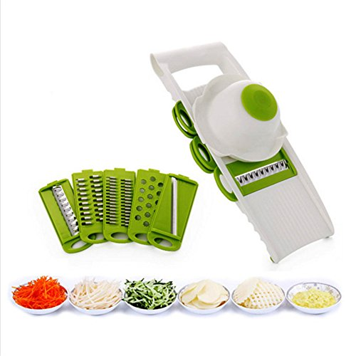 Handheld 7 in 1 Multifunctional Mandoline Vegetable Slicer & Grater Kitchen Set Stainless Steel Blades Cutter Graters Julienne Slicers with Food Safety Holder with 5 Interchangeable Dicer (1)