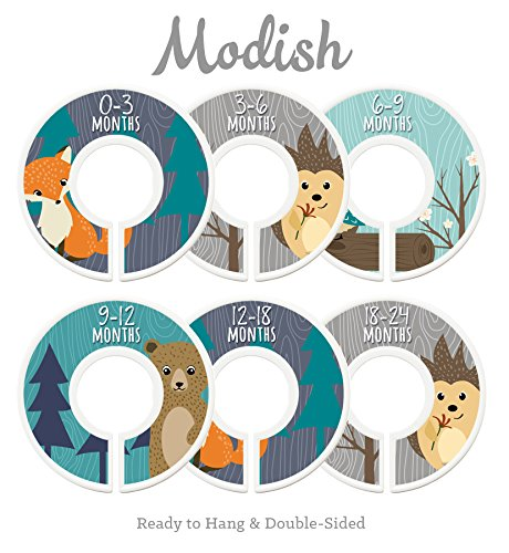 Modish Labels Baby Nursery Closet Dividers, Closet Organizers, Nursery Decor, Baby Boy, Woodland, Fox, Bear, Owl, Hedgehog from Modish Labels
