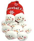 Toys : Snowball Fight, 10 Plush Snowmen Balls in a Red Bag, Snowball Fun, Indoor Play
