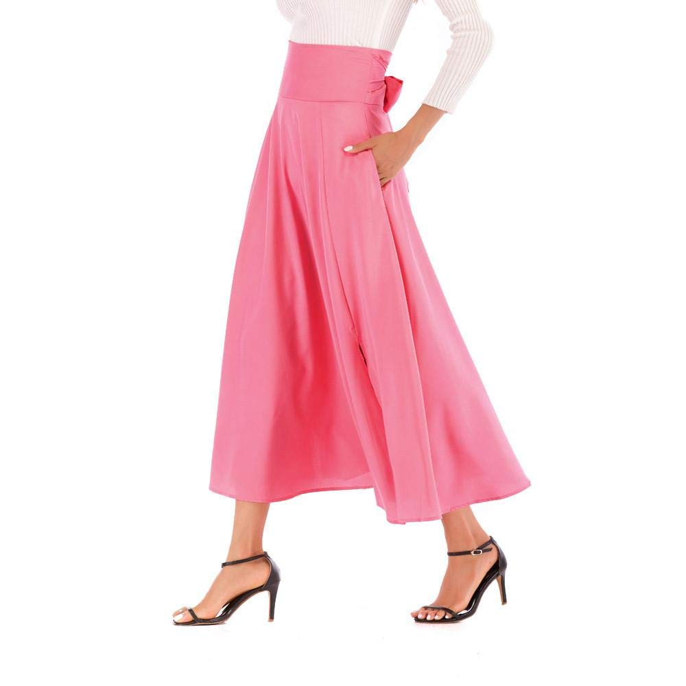 Oliviavan Women High Waist Pleated Dress,Ladies A Line Long Front Slit Belted Maxi Skirt Clearance