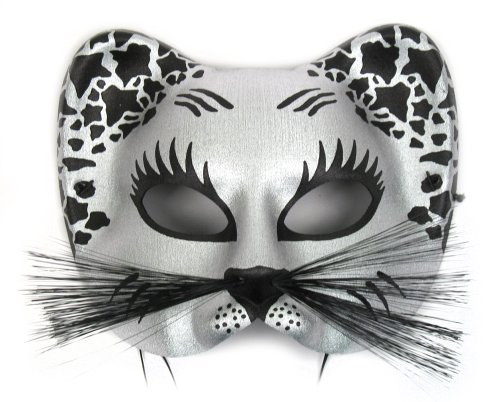 Success Creations Large Silver Black Cat Masquerade Mask ()